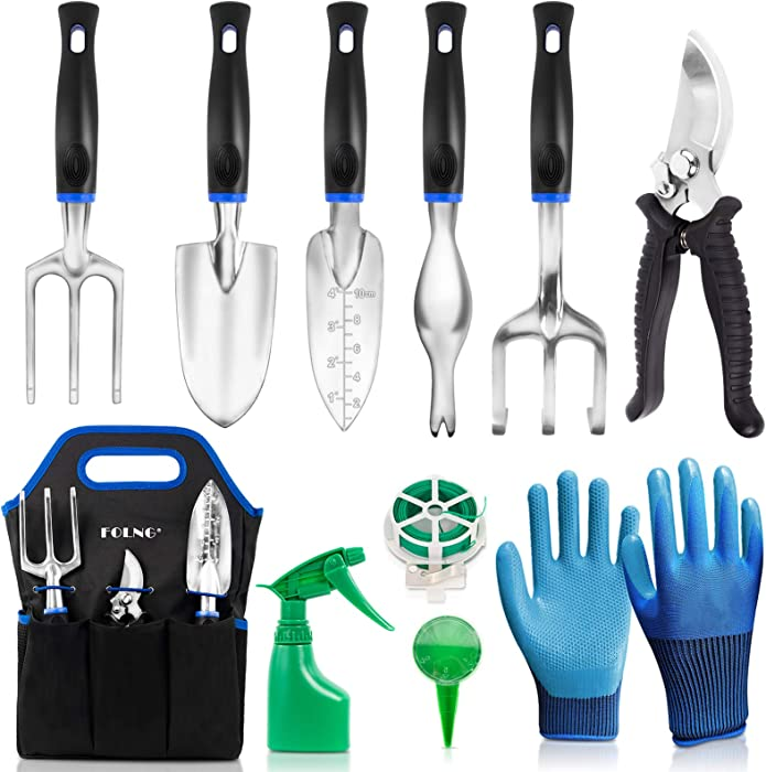 FOLNG Garden Tool Set, 12 Piece Stainless Steel Heavy Duty Gardening Tools, with Non-Slip Rubber Grip, Storage Pocket, Ideal Garden Tool Kit Gift for Women/Parent