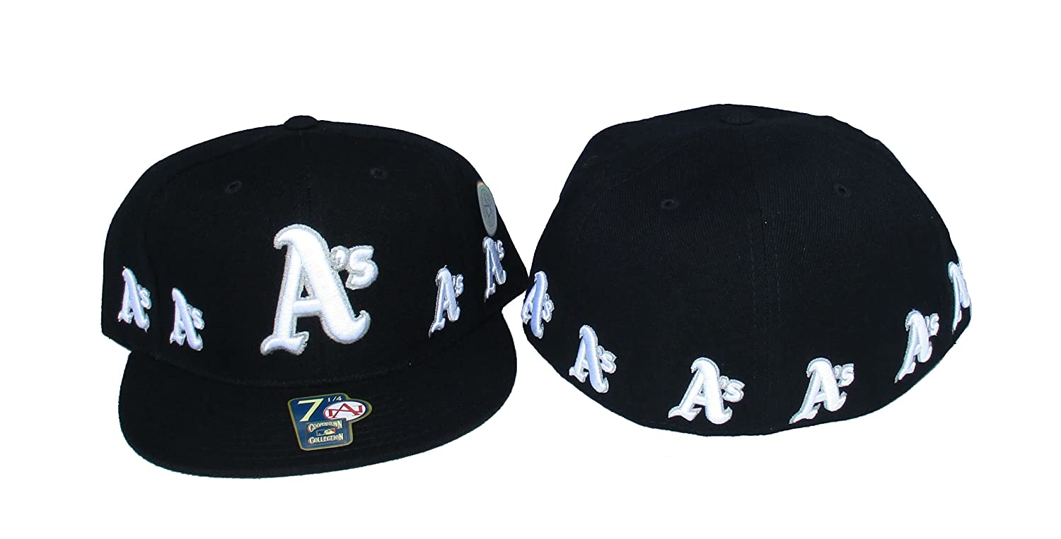 Amazon.com  Oakland Athletics Fitted Size 7 5 8 A s All Over Logo Black Hat  Cap  Sports   Outdoors 40c43ad3322
