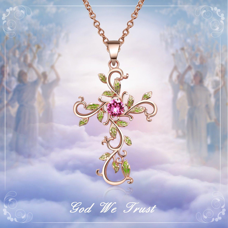 Angelady God We Trust Cross Pendant Necklace Jewelry Gift for Women,Crystal from Swarovski