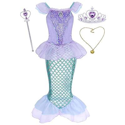AmzBarle Vestido Disfraz de Sirena Traje para Niña, Disfraz Infantil de Princesa Brillante Larga Manga con Cola de Cosplay Fiesta Halloween Chicas: Ropa y accesorios