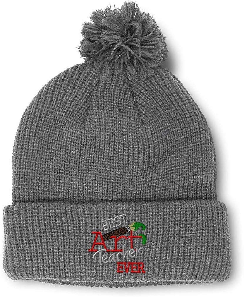 Winter Pom Pom Beanie Men /& Women Best Art Teacher Ever Funny Embroidery 1 Size