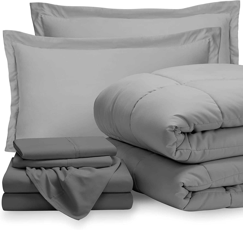 Bare Home Bedding Set 7 Piece Comforter & Sheet Set - Full - Goose Down Alternative - Ultra-Soft 1800 Premium - Hypoallergenic - Breathable Bed Set (Full, Light Grey/Grey)