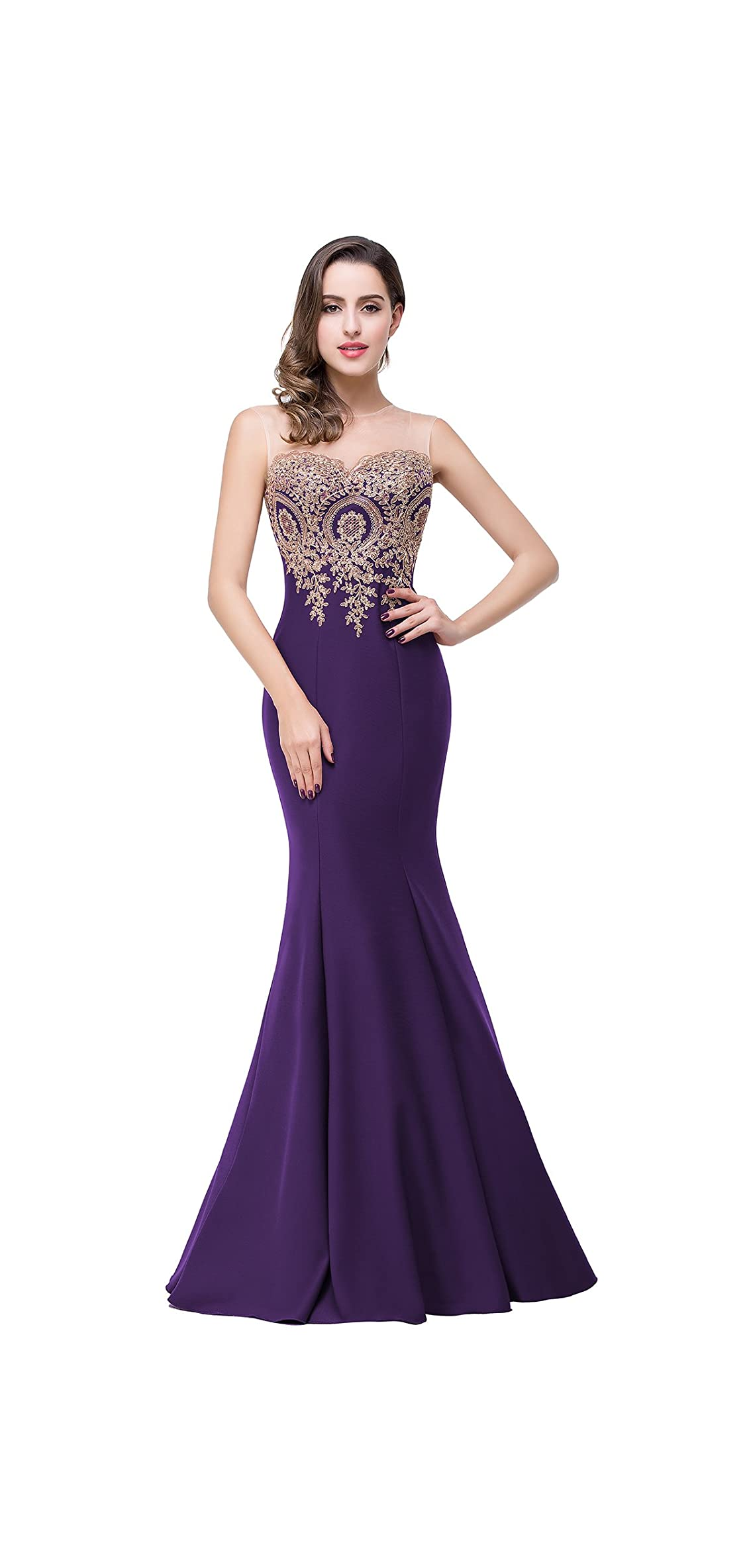 Babyonline Mermaid Evening Dress For Women Formal Lace Appliques