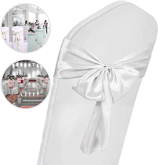 100 Cream Satin Chair Cover Sash Bows Wedding Banquet Party Reception spandex