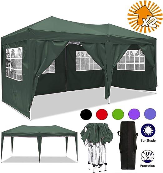 Cenador plegable 3 x 3 m / 3 x 6 m, resistente al agua, para jardín, para fiestas, festivales, gazebo plegable, protección solar., color verde, tamaño 3 x 6 m: Amazon.es: Jardín