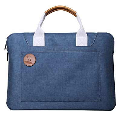 Dpark Water-Resistant Nylon& Leather Handbag 13 13.3 14 Inch Laptop Sleeve Case Slim Carrying Bag with Handle Tote Briefcase for MacBook Air Pro Retina 13 Inch (Blue for 14 inch laptop)