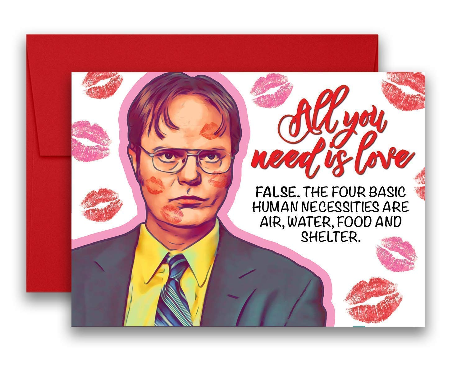 The Office Love Valentine's Day Anniversary Dwight Schrute All You Need is Love Greeting Card 5x7 inches w/Envelope