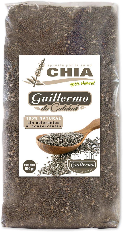 Guillermo Semillas de Chia 100% Natural 500gr sin conservantes ni colorantes: Amazon.es: Alimentación y bebidas