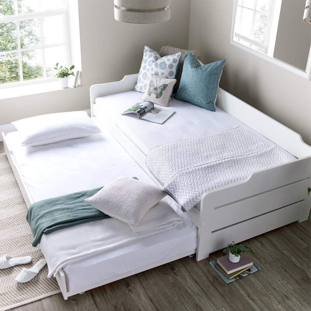 Guest Bed And Trundle Happy Beds Copella White Wooden Daybed 3ft Single 90 X 190 Cm With 2 Memory Foam Mattresses Included Amazon Co Uk Kitchen Home