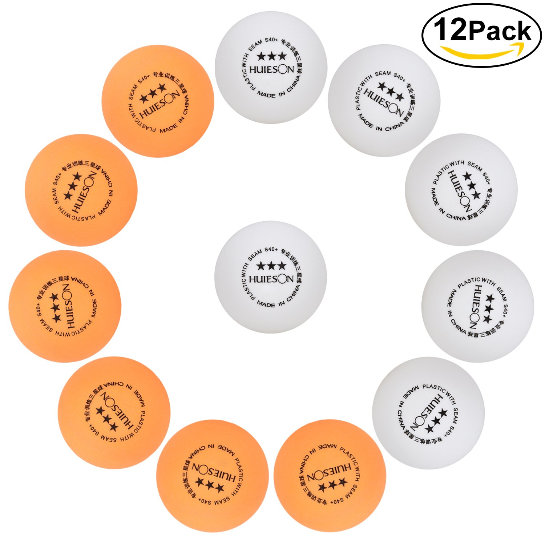 Tischtennis-Bälle [12er Pack], 3-Sterne 40+ mm Trainingsball für Bier-Pong, 6 Weiß + 6 Orange Lynlon