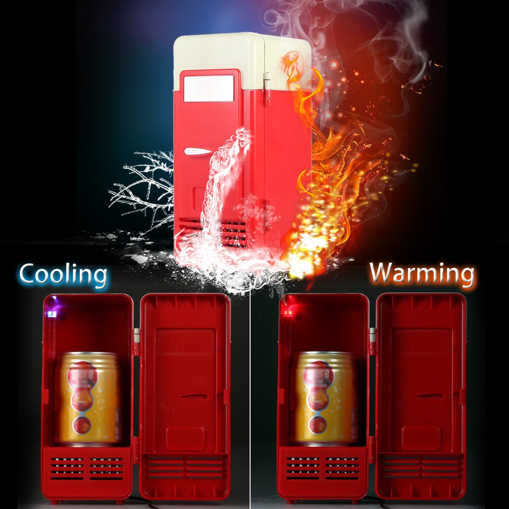 Mini Fridge, Portable USB Cooler and Warmer Dual-Purpose Refrigerator Small Fresh Keeping Cabinet for Office Outdoor by TRIEtree (red) by TRIEtree (Image #2)