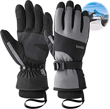 Insulated Waterproof Over Stitched Ski Gloves for Men