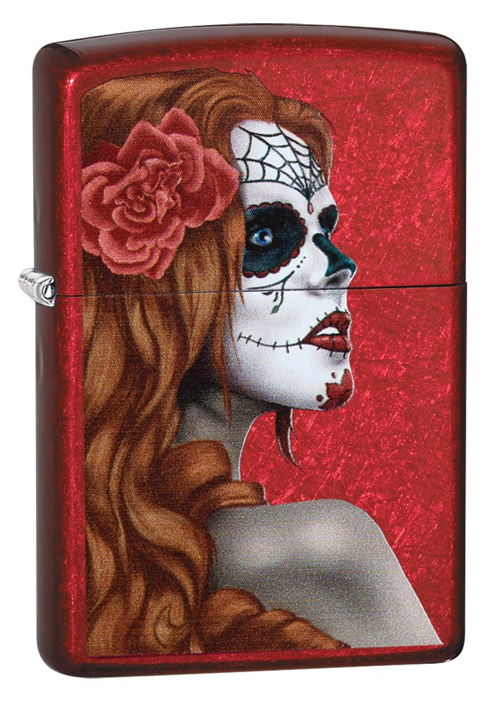 Zippo Day of The Dead Girl Pocket Lighter, Candy Red Apple by Zippo