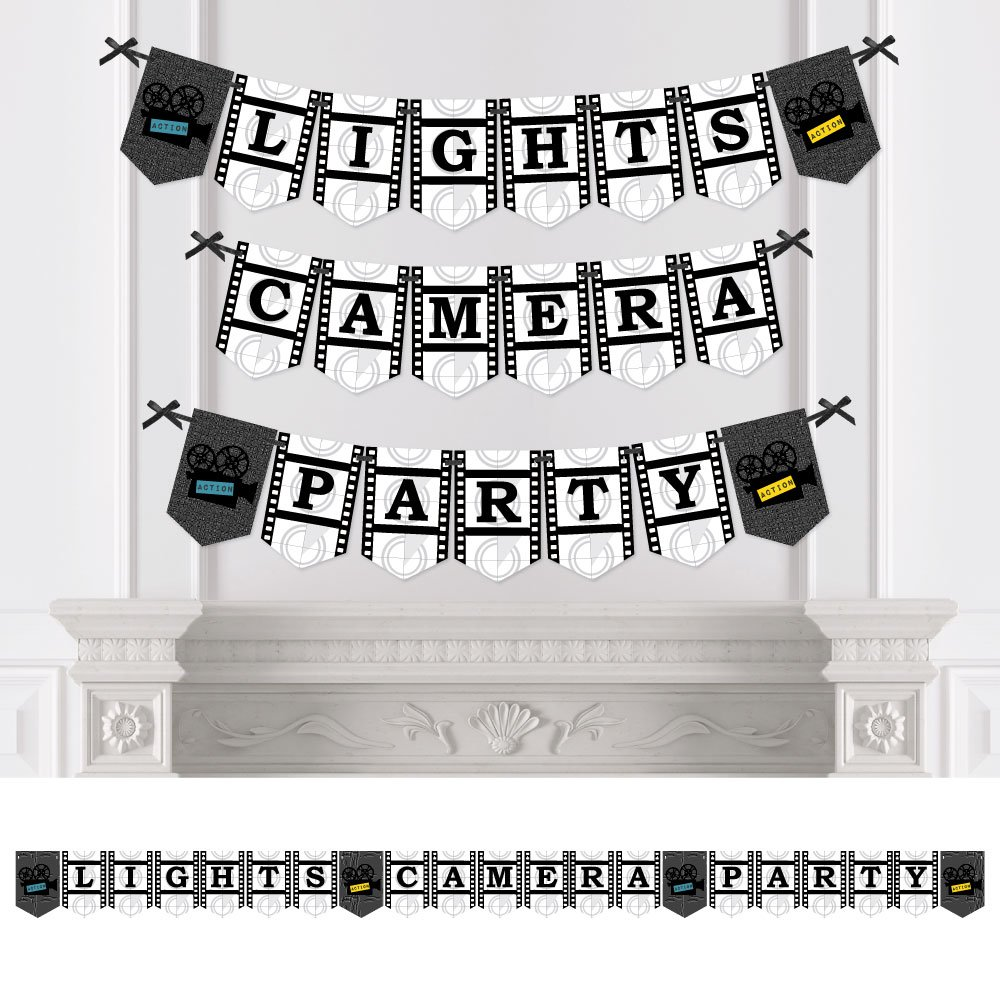 Big Dot of Happiness Movie - Party Bunting Banner - Hollywood Party Decorations - Lights, Camera, Party