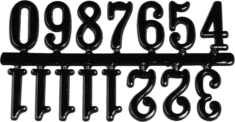 RAYHER HOBBY Dígitos para Relojes 8932200, 20mm, autoadhesivos, Bolsa de 1Juego, Color Negro