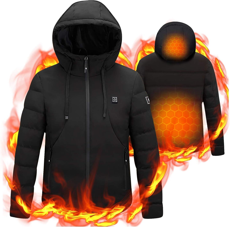 Electric Heated Jacket Vest Men Outdoor Motorbike Winter Skiing Warm Coats
