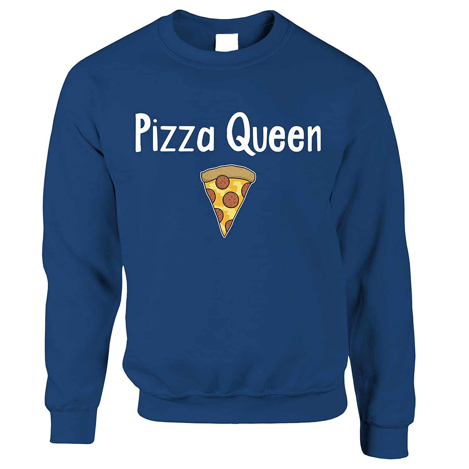 Tim And Ted Funny Food Sweatshirt Pizza Queen Slogan with Slice