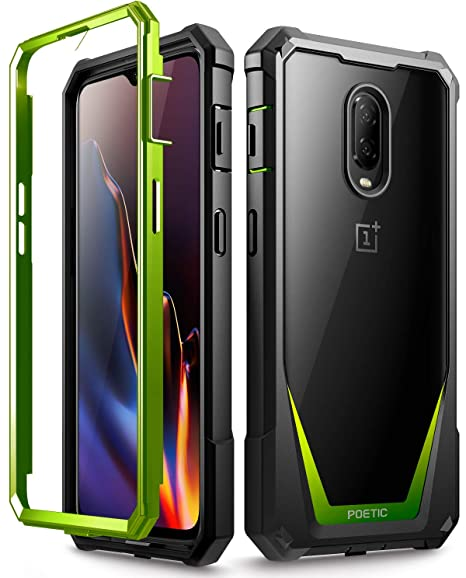 best cheap 22005 3a913 OnePlus 6T Case, Poetic Guardian [Scratch Resistant Back] [Built-in-Screen  Protector] Full-Body Rugged Clear Hybrid Bumper Case for OnePlus 6T (2018)  ...
