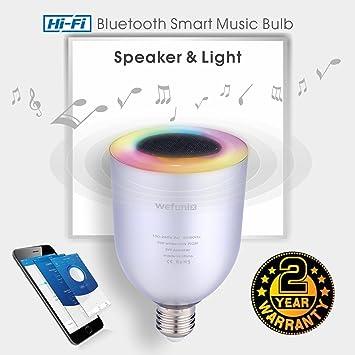 Wefunix Ampoule Bluetooth Haut Parleur Musicale E27 Ampoule Led