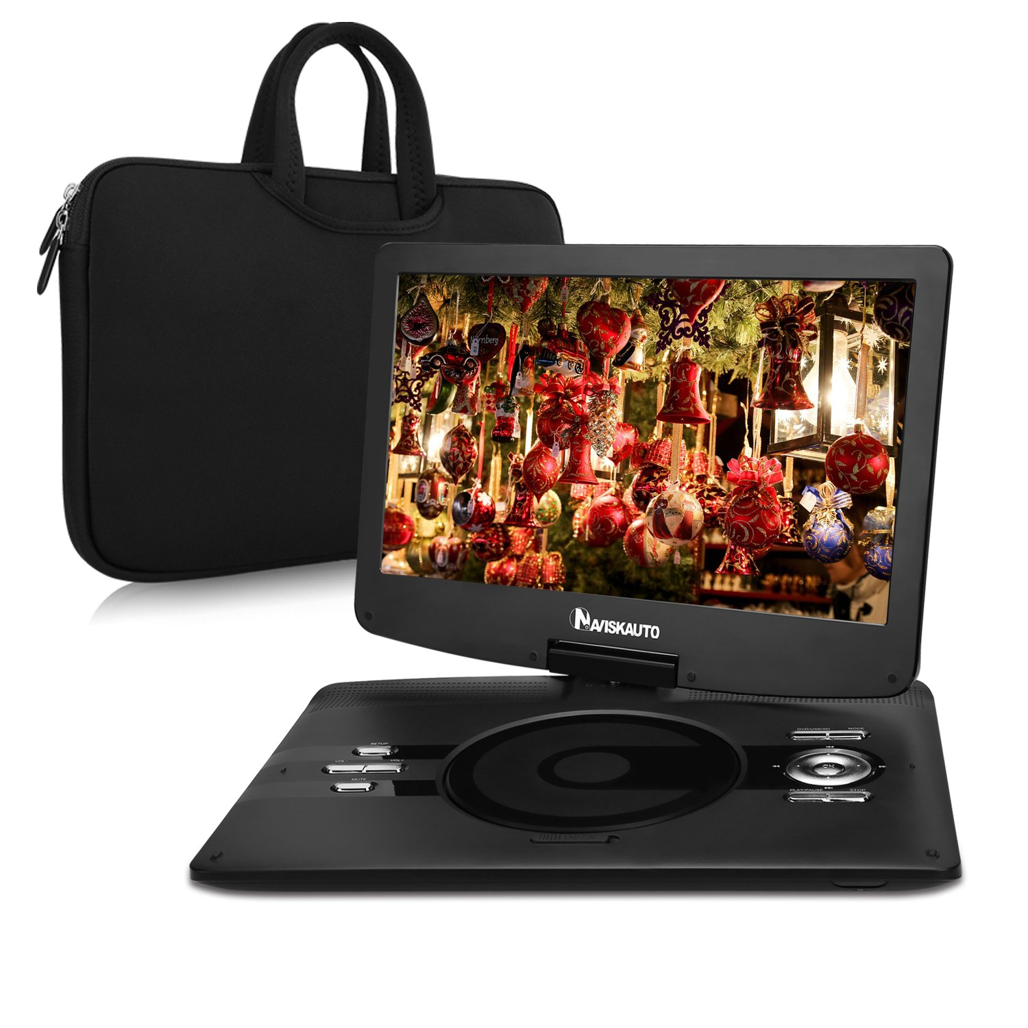 NAVISKAUTO 12.5 Inch HD Portable DVD/CD Player USB/SD Reader with HD 1366x768 Digital TFT 270° Swivel Screen, 5-Hour Built-In Rechargeable Battery, 3m AC/DC Adapter and Carrying Case-Black by NaviSkauto