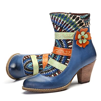 3b2ec8103c5 gracosy Women's Leather Ankle Boots Block Mid High Heel Ladies Casual  Comfort Pointed Toe Boots Party Wedding Shoes Handmade Bohemian Splicing  Pattern 2018 ...