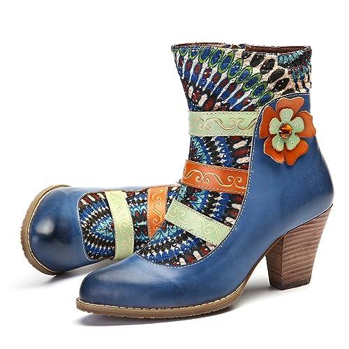 Botas Mujer Cuero, gracosy Zapatos De Otoño e Invierno para Mujeres Botas Tacón Alto Patrón Clásico Ante Botines Azul Rojo Negro con Cremallera para Mujer: ...