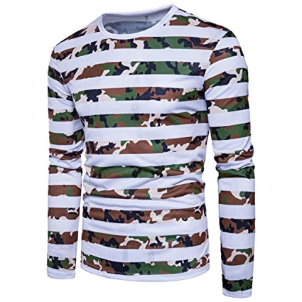 01d9bb6398aa Elogoog Men s Casual Stripes Printed T-shirt Tops Crewneck Long Sleeved  Camouflage Pullover (White