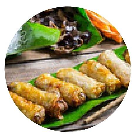 alfombrilla de ratón rollitos de primavera fritos rodeado de ingredientes - ronda - 20cm