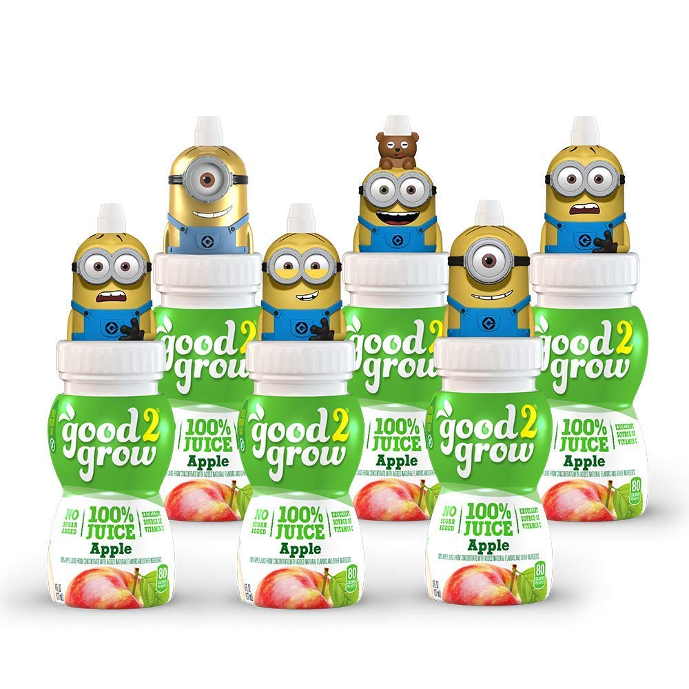 good2grow Minions Rotating Character 6 Pack 100% Apple Juice, 6-Ounce Spill-proof Character Top Bottles, Non-GMO with No Sugar Added and Excellent Source of Vitamin C