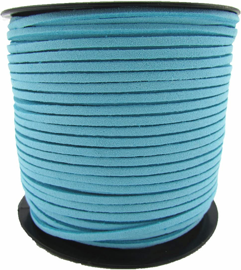 12 Colors 100 Yards Jewelry Making Flat Micro Fiber Lace Faux Suede Leather Cord Blue