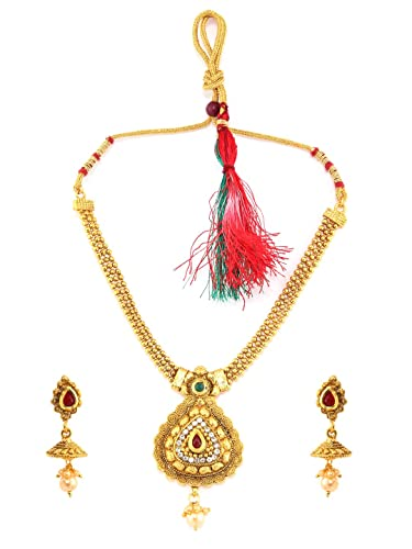 Engagement & Wedding Ethnic Indian Traditional Gold Tone Kundan Pendent Necklace Set Women Jewellery Reasonable Price