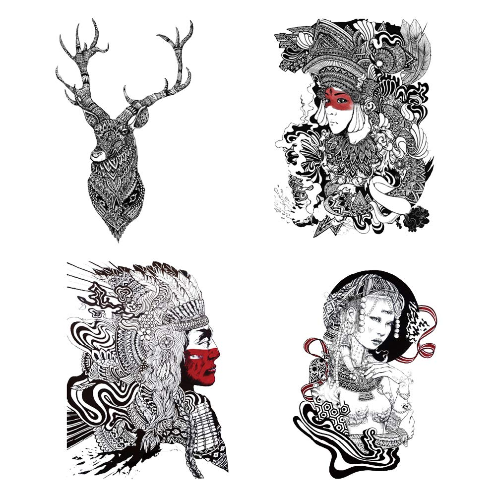 4 Original Design Temporary Tattoos by Inktells-Updated 2020-Portrait,Deer Amimal Tattoos for Women and Girls Fake Tattoos for for neck,back,hand and forearm (2 sheets)