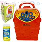 WhizBuilders Bubble Machine for Kids and Toddlers, Outdoor Summer Pool Giant Water Bubbles Wand Blower Toys Gift for Toddler with Solution Refill – Automatic Big Large Bubble Wands Maker Baby Gun Toy