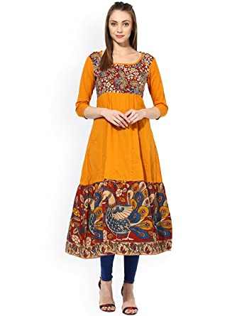 9c8eee9ff6dc Mustered Yellow Kurti Women s Designer Anarkali Kurta + FREE Leggings Ready  to Wear (Small)