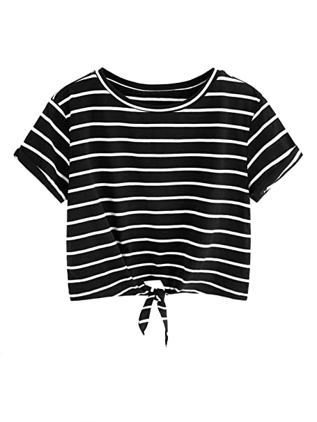 fc2c7f9ea23288 Romwe Women s Knot Front Cuffed Sleeve Striped Crop Top Tee T-Shirt Black  White XS