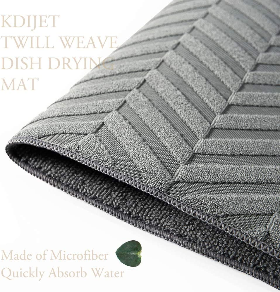 16x12 Inch KDIJET Dish Drying Mat 3 Pack 18x16 Pretty Sculpted Thickest Microfiber Ultra Absorbent Kitchen Drying Mat Dark Gray Cross 24x18