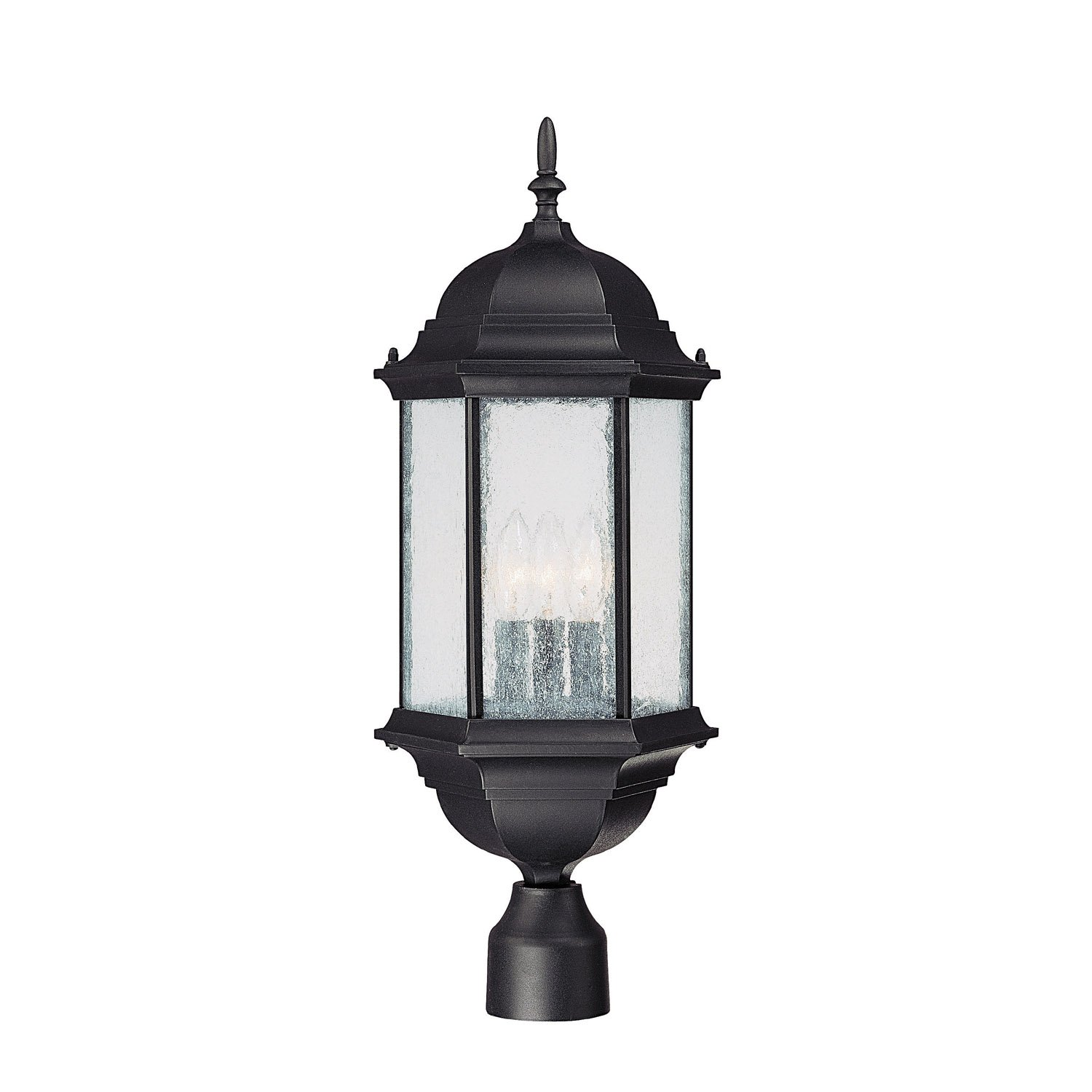 Capital Lighting 9837BK Main Street 3-Light Outdoor Post Lantern, Black with Seeded Glass