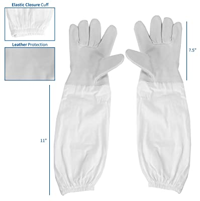 VIVO Small Leather Beekeeping Gloves with Sleeves | Bee Keeping Apparel (BEE-V103S)