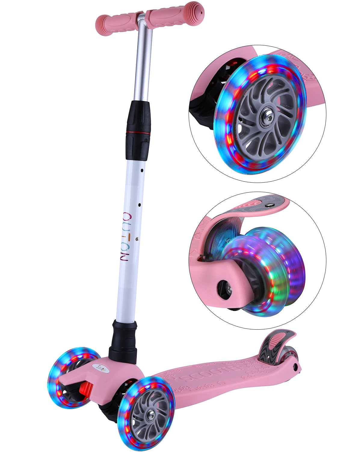 OUTON Kick Scooter For Kids 3 Wheel Lean To Steer Adjustable Height PU ABEC-7 Flasing Wheels Pink