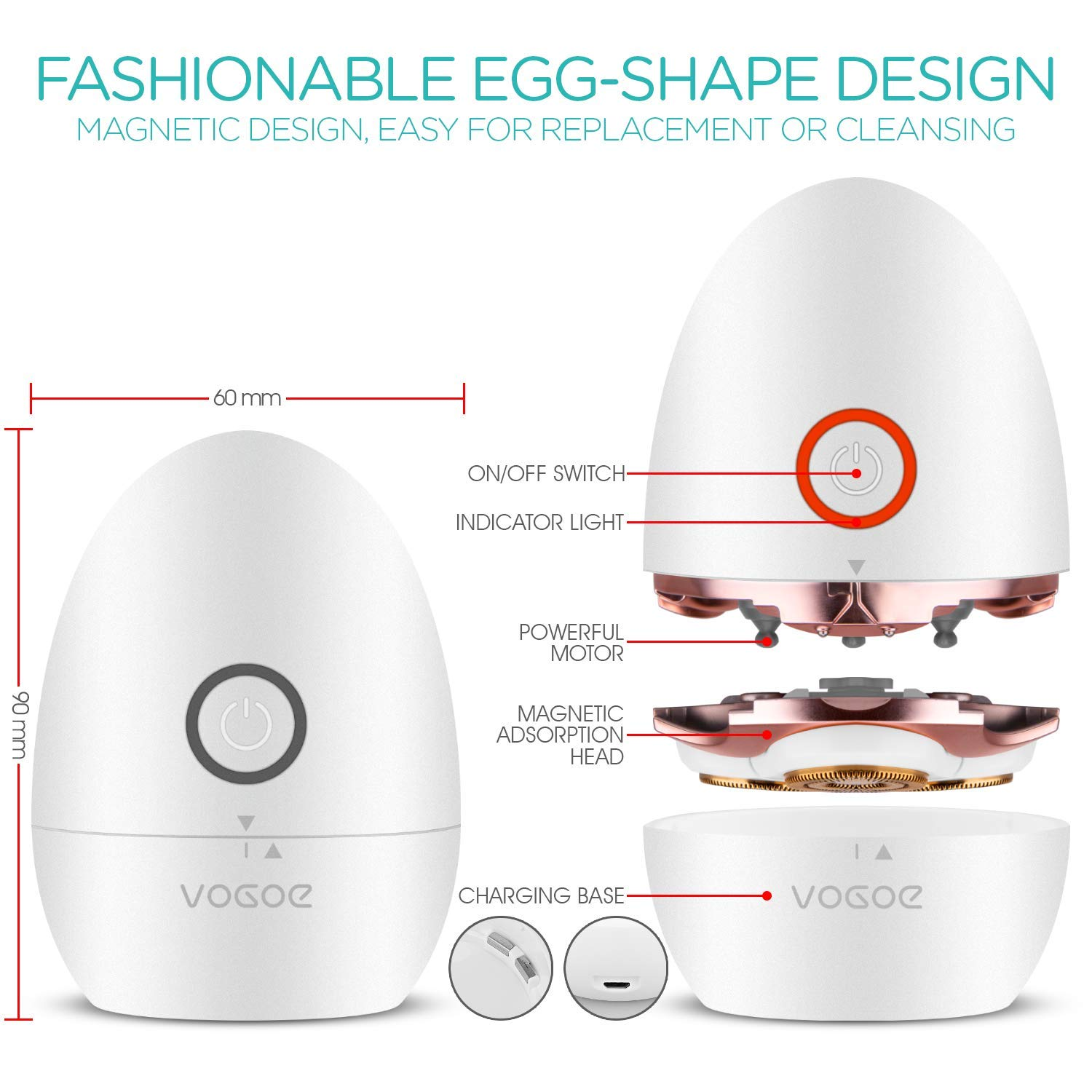 Women's Electric Shaver Hair Remover Waterproof Rotary Razor Fashion Egg Shape