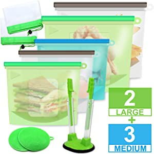 Silicone Bags Reusable Silicone Food Bag Reusable Sandwich Bags Silicone Storage Bags Reusable Ziplock Bags Silicon Containers Freezer Gallon Size Zip Snack Lunch Sous Vide Set of 10