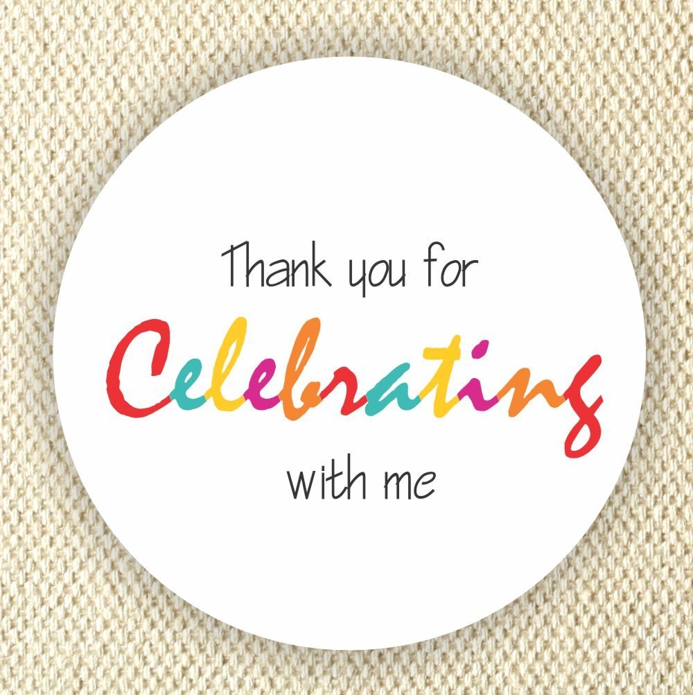 B071XQM4NR Colorful Favor Stickers - Baby Shower Stickers - Rainbow Colors stickers- Thank you for Celebrating with me - Set of 40 stickers 71HDDb88IwL