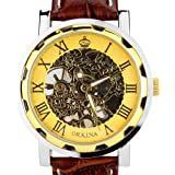 Orkina Montre bracelet avec cadran squelette mécanique doré Mécanisme à quartz et bracelet en cuir pour homme