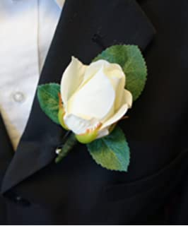 boutonniere live feel real touch classic keep sake rose boutonniere pin included - Garden Rose Boutonniere