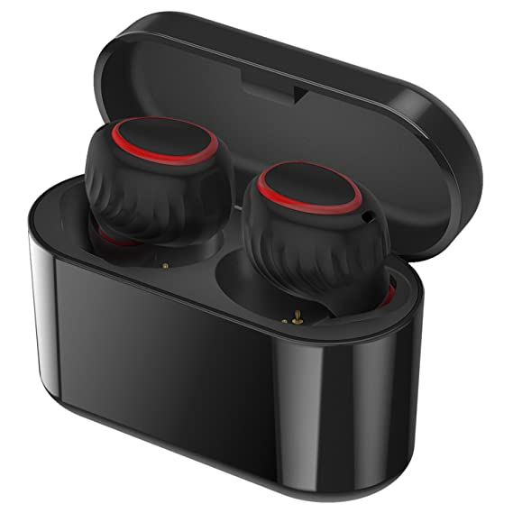 Review Techsaan Bluetooth Earbuds, True Stereo Wireless Earbuds Noise Cancelling Mini Sweatproof Wireless Headphones with Charging Case and Mic for iPhone Samsung iPad and Most Android Phones