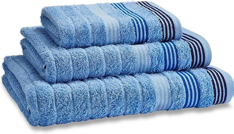 Catherine Lansfield - Toalla de baño (90 x 140 cm, 100% algodón), diseño de Rayas, Color Azul: Amazon.es: Hogar