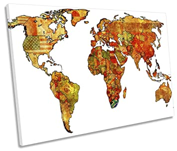 Amazon canvas geeks map of the world flags 120cm wide x 80cm canvas geeks map of the world flags 120cm wide x 80cm high single canvas wall gumiabroncs Image collections