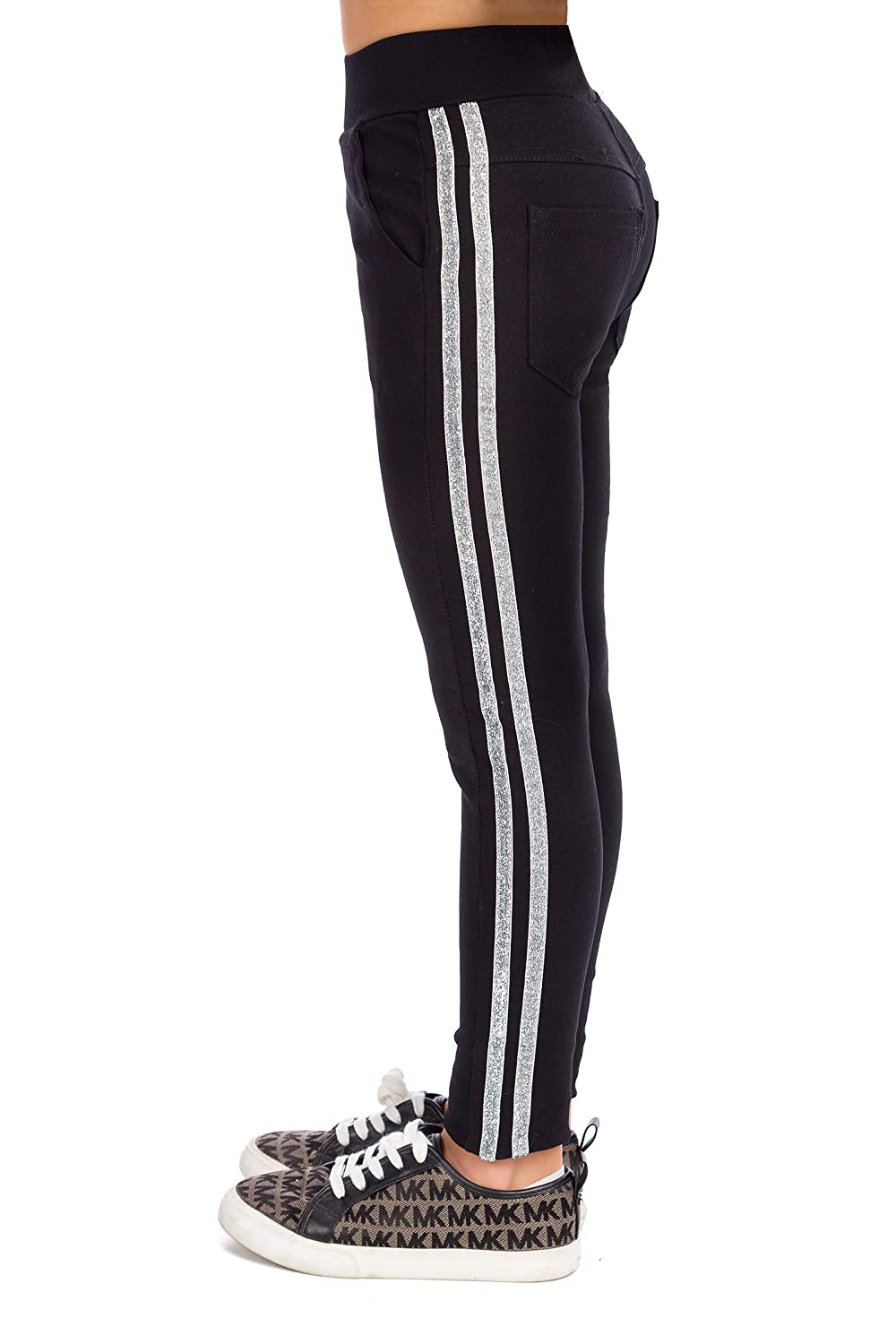 hi!mom Girls High Waisted Warm Sports Leggings Stretch Kids Solid Pants Stripes Trousers with Pockets FS99K08