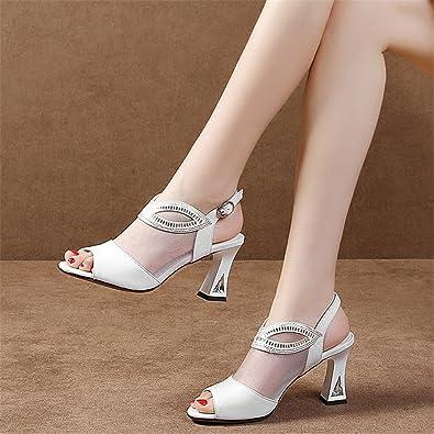 HUAHUA Sandalen Frauen Flach mit der Niedrigen Frauen Schuhe mit Fisch Mund Schuhe Wild Leder Atmungsaktiv Net...