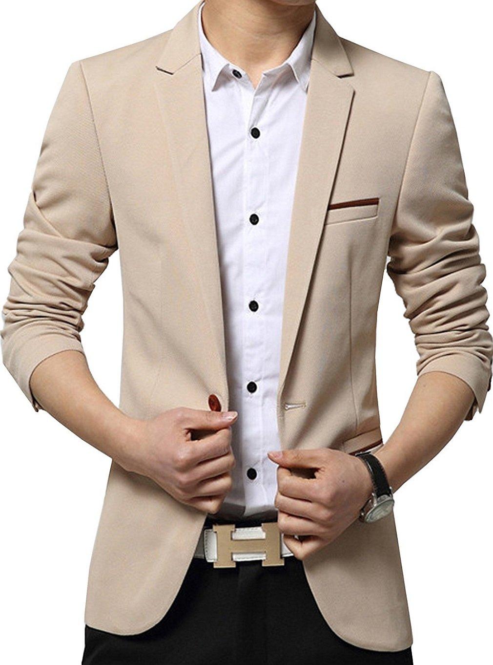 YIMANIE Mens Blazer Jacket Slim Fit Casual Single One Button Premium Lightweight Blazer Coat Khaki Large
